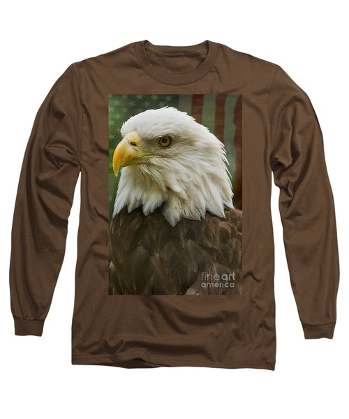 American Bald Eagle With American Flag Background Long Sleeve T-Shirt by Anne Rodkin