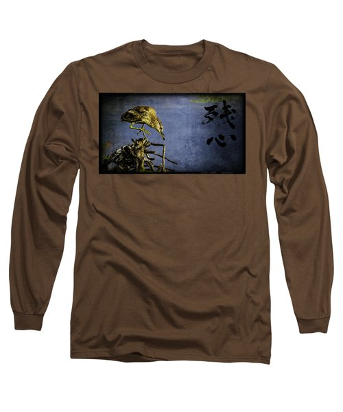American Bittern With Brush Calligraphy Lingering Mind Long Sleeve T-Shirt