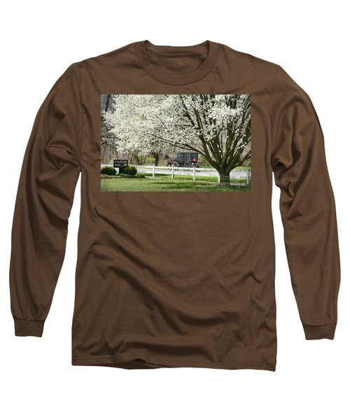 Amish Buggy Fowering Tree Long Sleeve T-Shirt