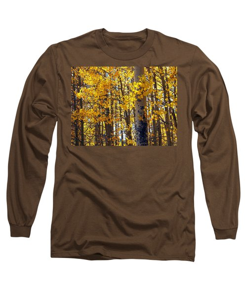 Among The Aspen Trees In Fall Long Sleeve T-Shirt by Amy McDaniel