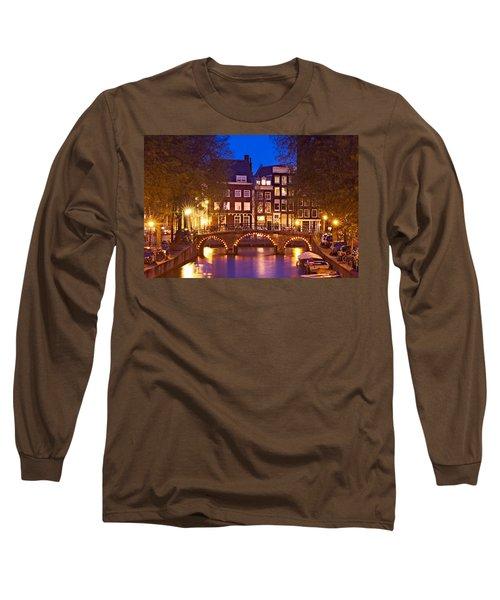 Amsterdam Bridge At Night Long Sleeve T-Shirt
