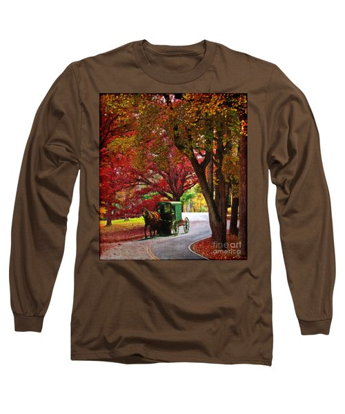An Amish Autumn Ride Long Sleeve T-Shirt by Lianne Schneider