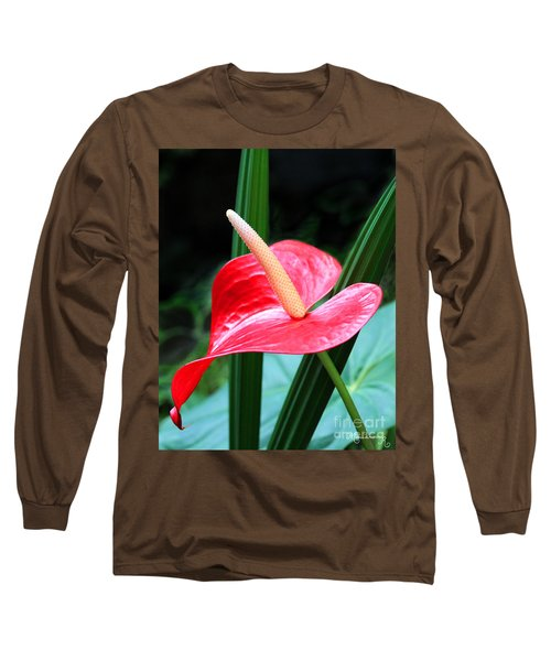 Long Sleeve T-Shirt featuring the photograph Anthurium by Mariarosa Rockefeller