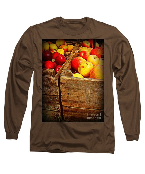 Long Sleeve T-Shirt featuring the photograph Apples In Old Bin by Miriam Danar