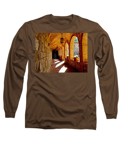 Archway By Courtyard In Castello Di Amorosa In Napa Valley-ca Long Sleeve T-Shirt by Ruth Hager