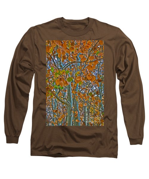 Long Sleeve T-Shirt featuring the photograph Aspen Leaves In The Fall by Mae Wertz