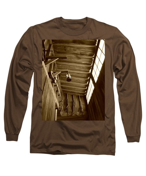 At The Museum - Sepia Long Sleeve T-Shirt