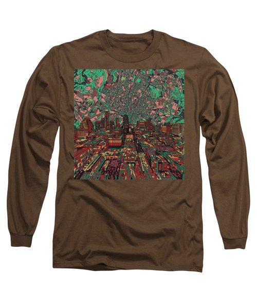 Austin Texas Vintage Panorama 3 Long Sleeve T-Shirt by Bekim Art