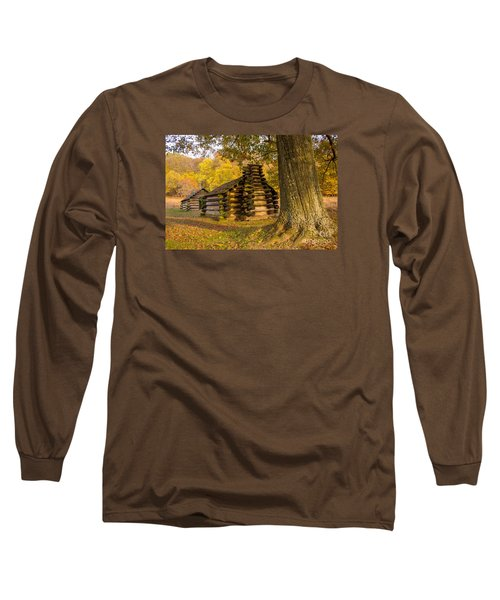 Long Sleeve T-Shirt featuring the photograph Autumn And The Huts At Valley Forge by Rima Biswas