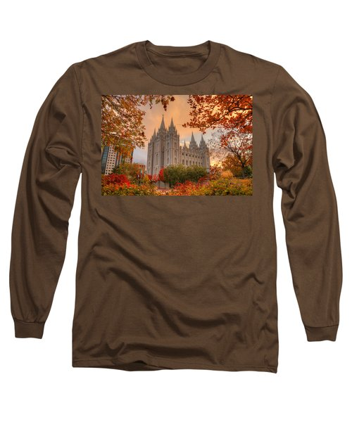 Autumn At Temple Square Long Sleeve T-Shirt by Dustin  LeFevre