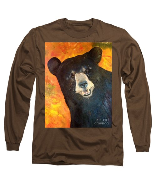 Long Sleeve T-Shirt featuring the painting Autumn Bear by Jan Dappen