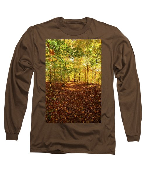 Autumn Leaves Pathway  Long Sleeve T-Shirt by Jerry Cowart