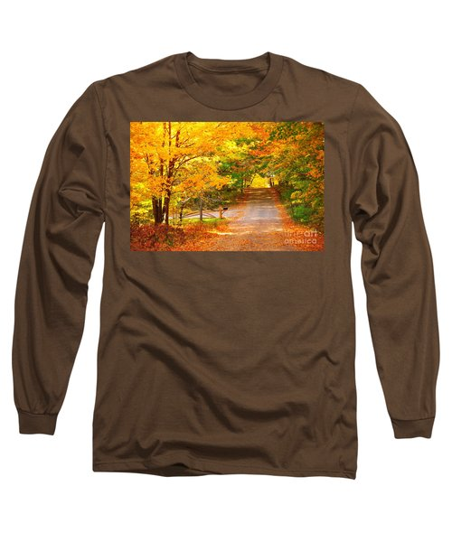 Autumn Road Home Long Sleeve T-Shirt by Terri Gostola