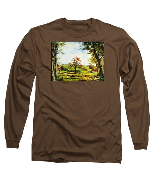 Long Sleeve T-Shirt featuring the painting Autumn Road by Lee Piper