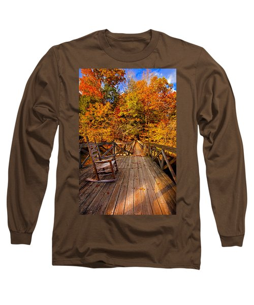 Autumn Rocking On Wooden Bridge Landscape Print Long Sleeve T-Shirt by Jerry Cowart