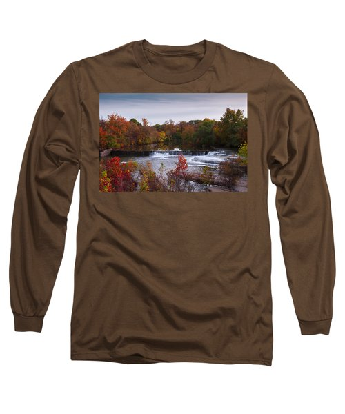 Long Sleeve T-Shirt featuring the photograph Refreshing Waterfalls Autumn Trees On The Stones River Tennessee by Jerry Cowart