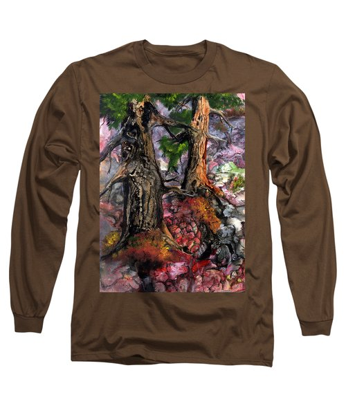 Long Sleeve T-Shirt featuring the painting Autumn Woods by Sherry Shipley