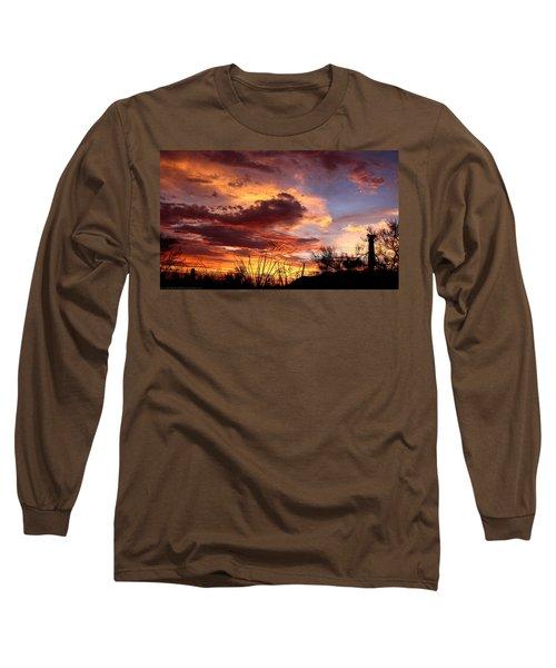 Az Monsoon Sunset Long Sleeve T-Shirt by Elaine Malott