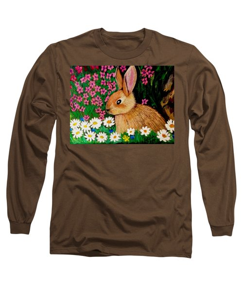Baby Bunny In The Garden At Night Long Sleeve T-Shirt