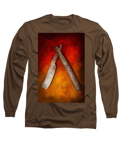 Barber - Shaving - Keep A Stiff Upper Lip Long Sleeve T-Shirt by Mike Savad