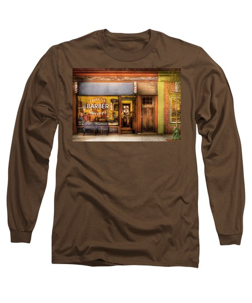 Barber - Towne Barber Shop Long Sleeve T-Shirt by Mike Savad