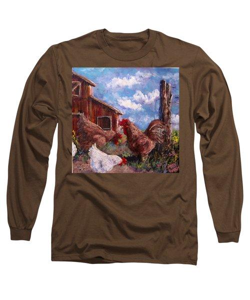 Long Sleeve T-Shirt featuring the painting Barnyard by Megan Walsh