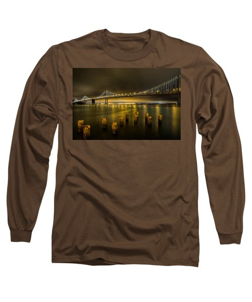 Bay Bridge And Clouds At Night Long Sleeve T-Shirt