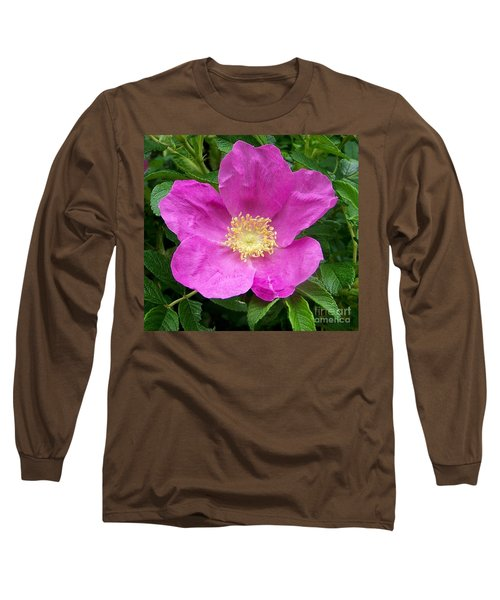 Pink Beach Rose Fully In Bloom Long Sleeve T-Shirt by Eunice Miller