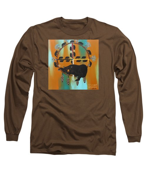 Bear Totem And Medicine Wheel Long Sleeve T-Shirt