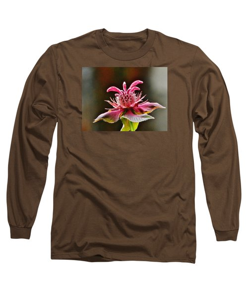 Long Sleeve T-Shirt featuring the photograph Bee Balm's Beauty by VLee Watson