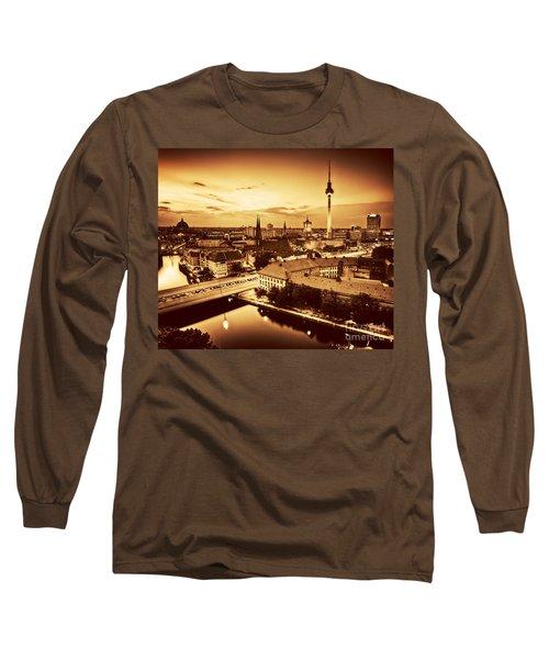 Berlin Germany Major Landmarks At Sunset In Gold Tone Long Sleeve T-Shirt