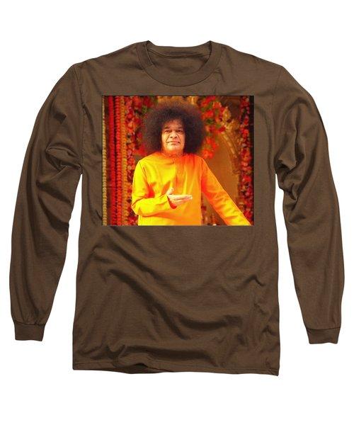 Bhagavan Sri Sathya Sai Baba Long Sleeve T-Shirt by Carlos Avila