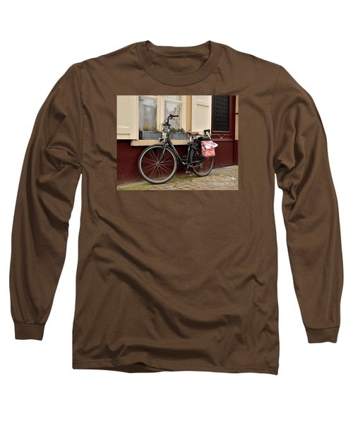 Bicycle With Baby Seat At Doorway Bruges Belgium Long Sleeve T-Shirt by Imran Ahmed