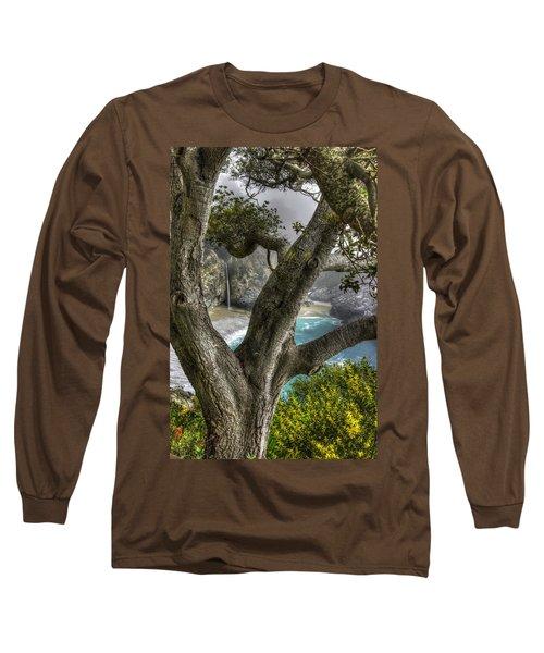 Big Sur Mc Way Falls At Julia Pfeiffer State Park-1 Central California Coast Spring Early Afternoon Long Sleeve T-Shirt by Michael Mazaika