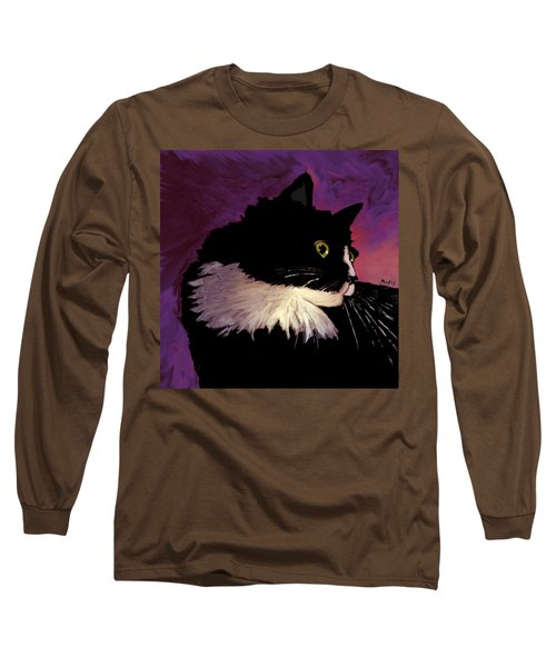 Black Cat On Purple Long Sleeve T-Shirt