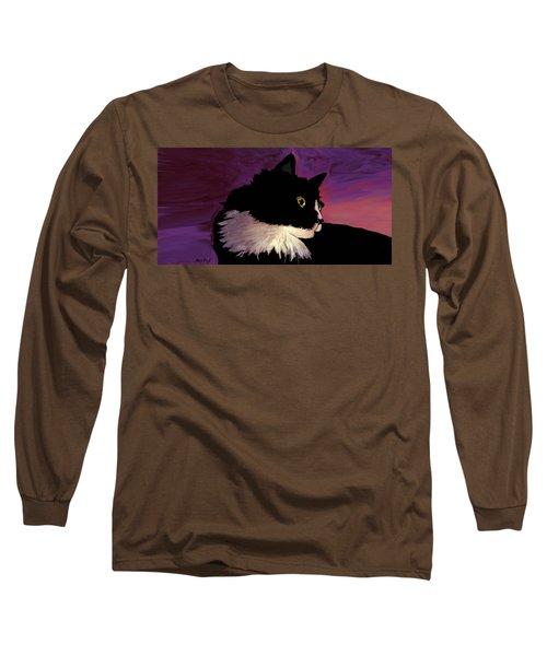 Black Cat On Purple Horizontal Long Sleeve T-Shirt