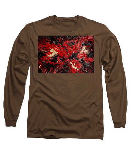 Black Cracks With Red Long Sleeve T-Shirt