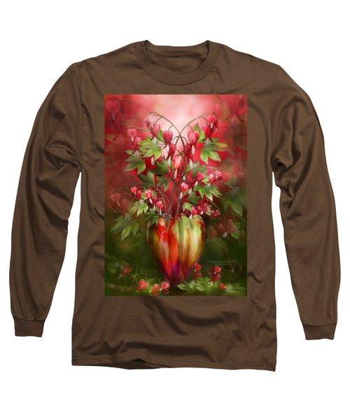 Long Sleeve T-Shirt featuring the mixed media Bleeding Hearts In Heart Vase by Carol Cavalaris