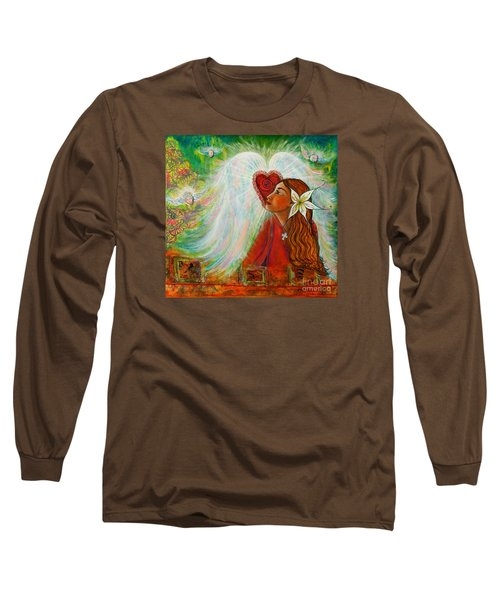 Long Sleeve T-Shirt featuring the painting Blessed Visit  by Deborha Kerr