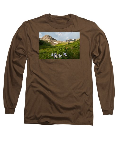 Handie's Peak And Blue Columbine On A Summer Morning Long Sleeve T-Shirt