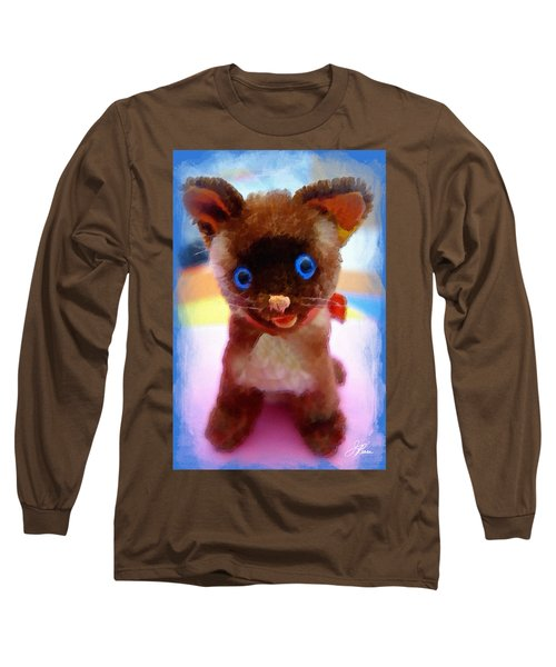 Blue Eyed Kitty Long Sleeve T-Shirt by Joan Reese