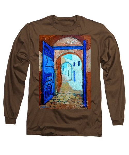 Long Sleeve T-Shirt featuring the painting Blue Gate by Ana Maria Edulescu