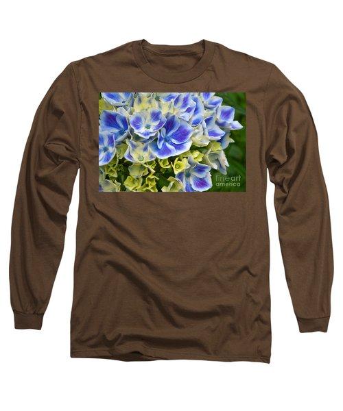 Blue Harlequin Hydrandea Flower Long Sleeve T-Shirt by Valerie Garner