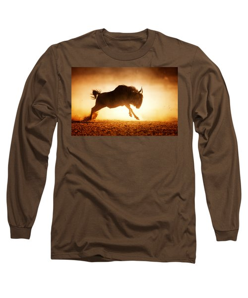 Blue Wildebeest Running In Dust Long Sleeve T-Shirt
