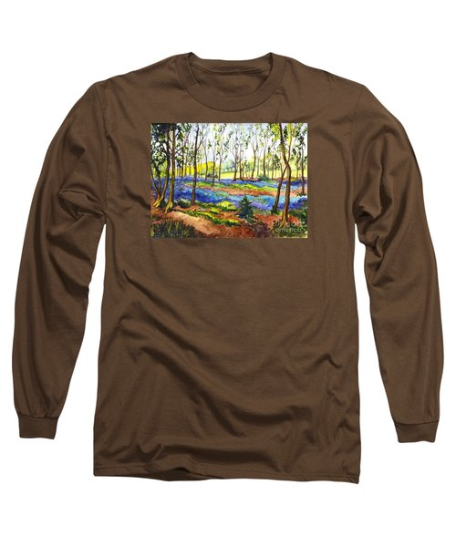 Long Sleeve T-Shirt featuring the painting Bluebell Woods by Carol Wisniewski