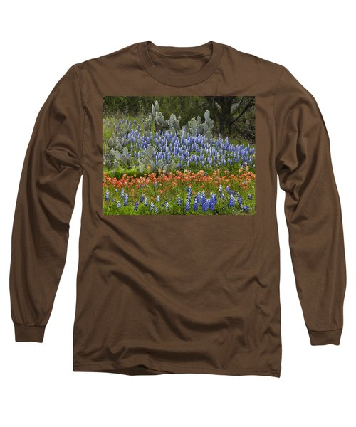 Bluebonnets Paintbrush And Prickly Pear Long Sleeve T-Shirt