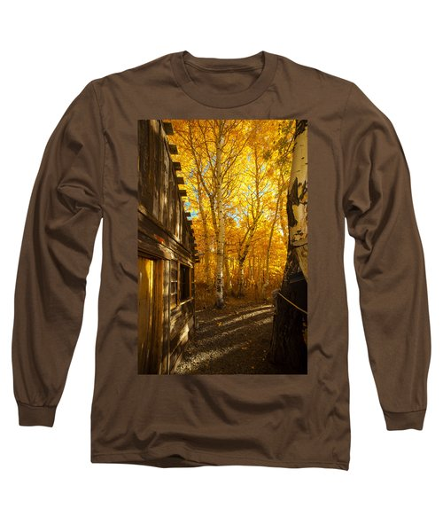 Boat House Among The Autumn Leaves  Long Sleeve T-Shirt by Jerry Cowart