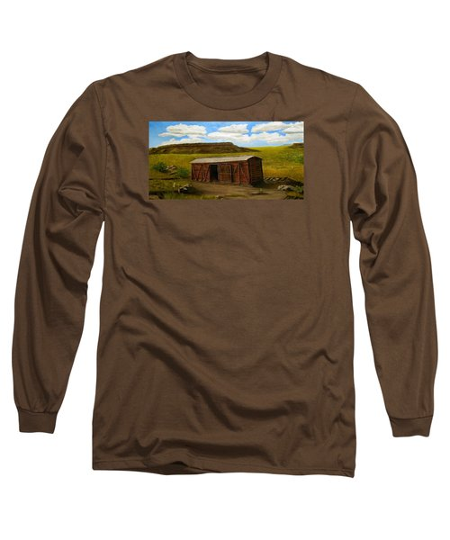 Boxcar On The Plains Long Sleeve T-Shirt by Sheri Keith