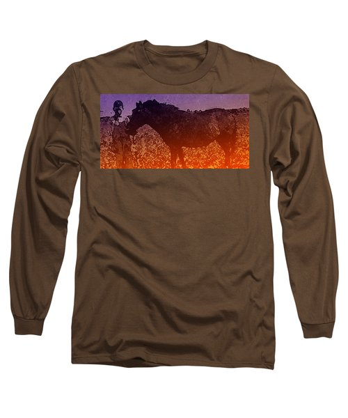 Long Sleeve T-Shirt featuring the digital art Boy With Horse by Cathy Anderson