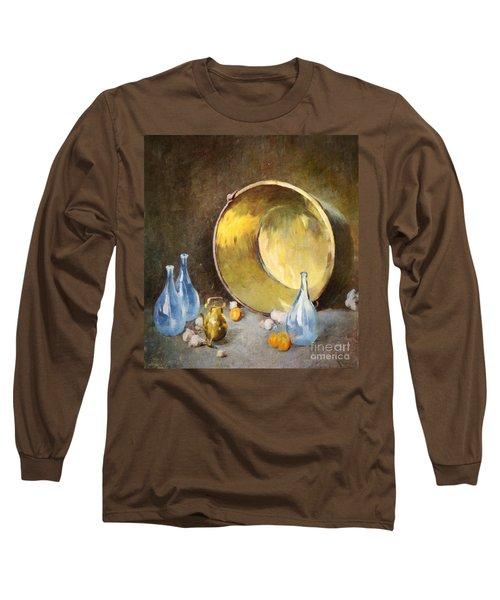 Long Sleeve T-Shirt featuring the digital art Brass Kettle With Blue Bottles After Carlsen by Lianne Schneider